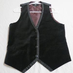 Sz 34R Black Solid Velvet H&M Mens #82T Suit Vest